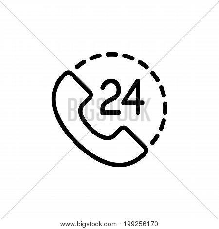24 hour around the clock call suppot icon on white background