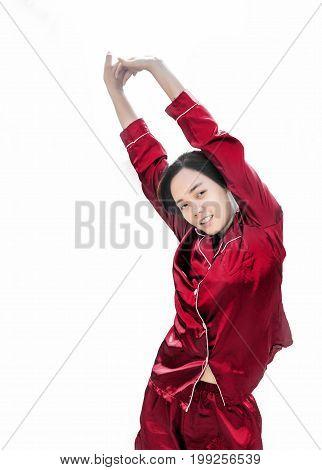 Asian Teenage Sleepy Action With Pejamas