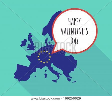 Long Shadow Eu Map With    The Text Happy Valentines Day