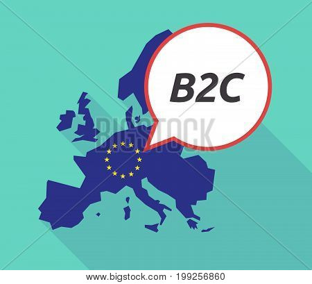Long Shadow Eu Map With    The Text B2C