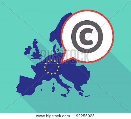Long Shadow Eu Map With    The  Copyright Sign
