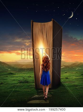 Little girl in the magic book land