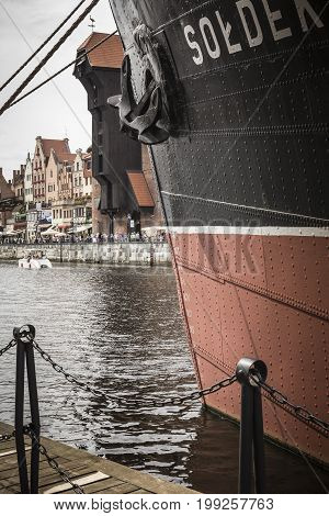 Gdansk, Poland - August 04, 2017: Ss Soldek Ship On Motlawa River In Gdansk, Poland. She Was The Fir