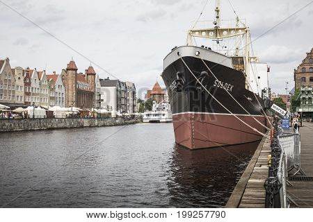 GDANSK POLAND - AUGUST 04 2017: SS Soldek ship on Motlawa river in Gdansk Poland. She was the first ship built in Poland after World War II.