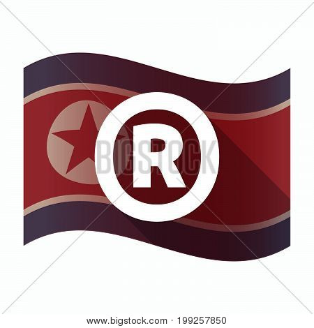 Isolated North Korea Flag With    The Registered Trademark Symbol