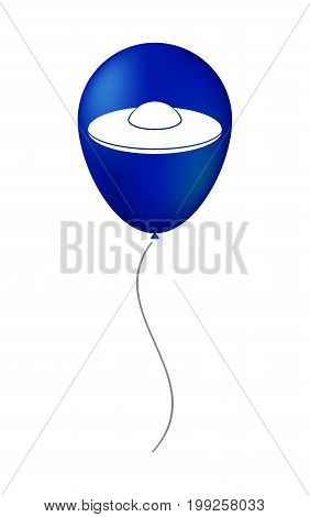 Isolated Balloon With  A Flying Saucer Ufo