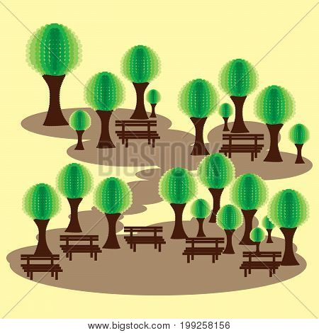 Eco park with benches and abstract green tress