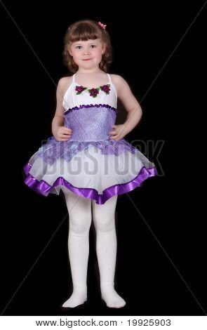 Little Girl Posing In Ballet Costume. Isolated
