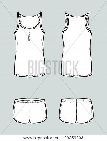 Vector illustration of singlet with straps and shorts. Front and back