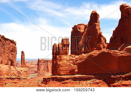 Red sandstone the Courthouse Towers in Arches National Park Moab Utah USA