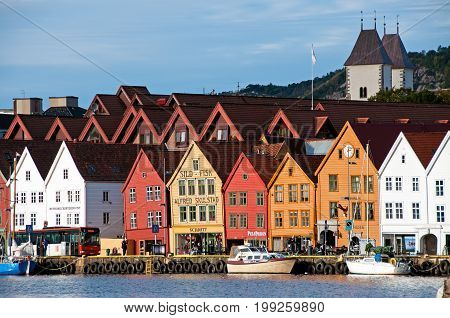 Bergen, Norway - September 26, 2013: View Of Shop Colorful Building By The Waterfront In Bergen.