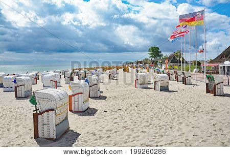 Beach and Promenade of Dahme at baltic Sea,Schleswig-Holstein,Germany
