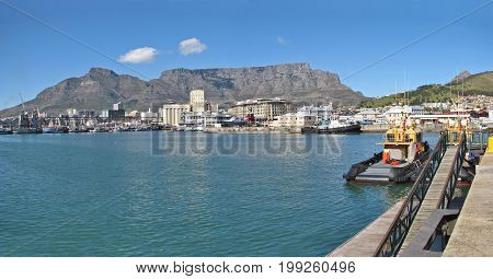 FROM CAPE TOWN, SOUTH AFRICA, VICTORIA AND ALFRED WATERFRONT ON A CLEAR SUMMER DAY