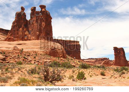 Three Gossips located in the Courthouse Towers section of Arches National Park