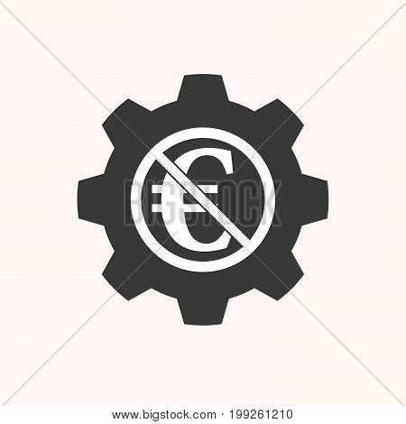 Isolated Gear With  An Euro Sign  In A Not Allowed Signal