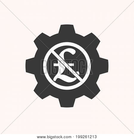 Isolated Gear With  A Pound Sign  In A Not Allowed Signal