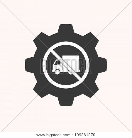 Isolated Gear With  A Delivery Truck  In A Not Allowed Signal