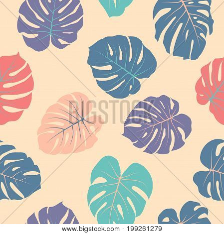 Tropical jungle leaves vector seamless red and blue pattern. Philodendron or monstera plant repeating background for textile, wallpaper, summer decoration. Floral pattern with monstera leaf.