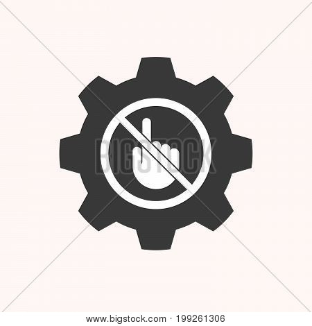 Isolated Gear With  A Touching Hand  In A Not Allowed Signal