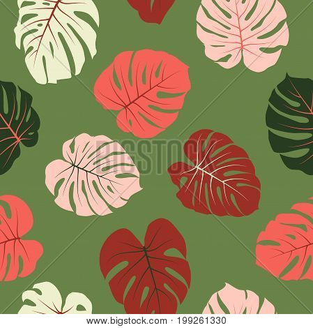 Red and green tropical jungle leaves vector seamless pattern. Philodendron or monstera plant repeating background for textile, wallpaper, summer decoration.
