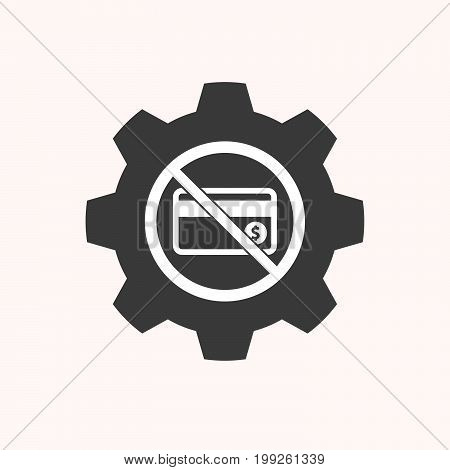 Isolated Gear With  A Credit Card  In A Not Allowed Signal