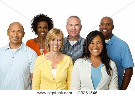 Divese group of multicultural people isolated on white.