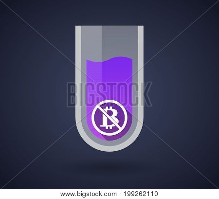 Chemical Test Tube With  A Bitcoin Sign  In A Not Allowed Signal