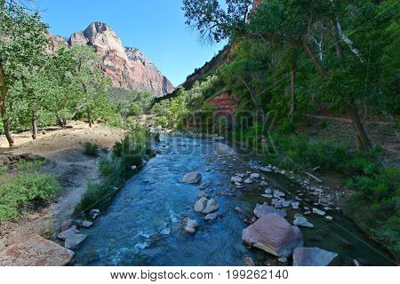 Zion National Park with mountains and Virgin-river