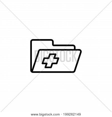 medical patient history record folder icon on white background