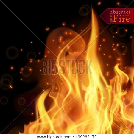 Abstract fire flames vector background. Illustration Hot Fire. EPS 10