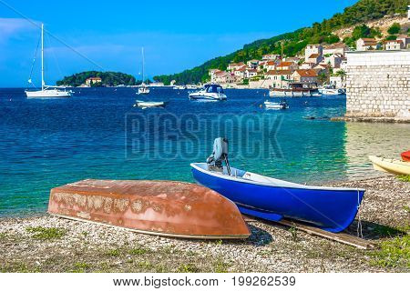 Scenic view at Vis island landscape in summertime, Croatia european travel places.