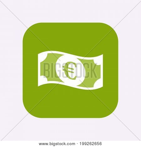 Isolated Button With  An Euro Bank Note