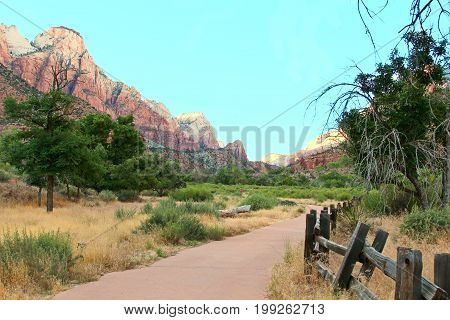 Zion National Park With Mountains And Virgin River