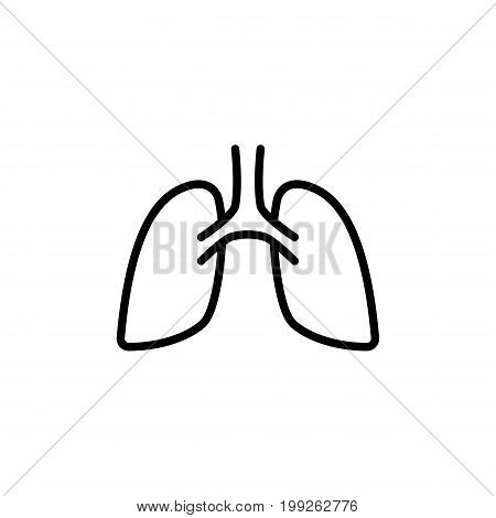 thin line lungs icon on white background