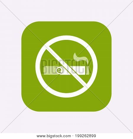 Isolated Button With  An E-cigarette  In A Not Allowed Signal