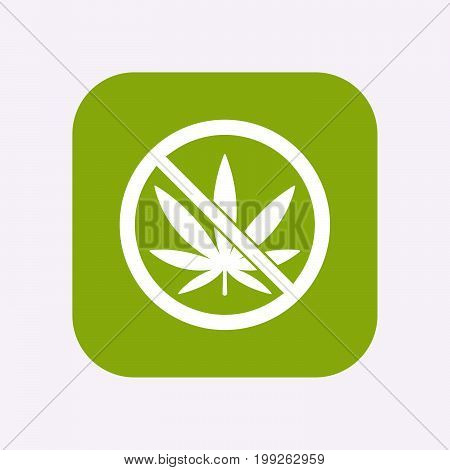 Isolated Button With  A Marijuana Leaf  In A Not Allowed Signal