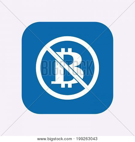 Isolated Button With  A Bitcoin Sign  In A Not Allowed Signal