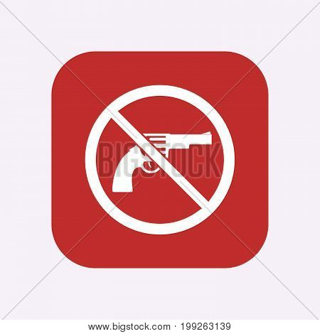Isolated Button With  A Gun  In A Not Allowed Signal