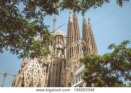 BARCELONA SPAIN - June 21 2017 : Detail of architecture of the Sagrada Familia a wide Roman Catholic church designed by Catalan architect Antoni Gaudi