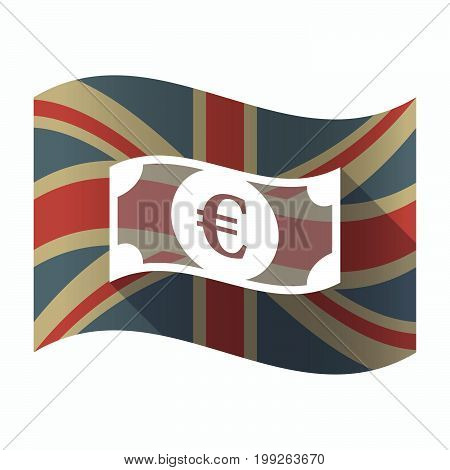 Isolated Uk Flag With  An Euro Bank Note