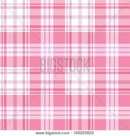 Pink seamless tartan plaid background. Checkered tablecloths pattern.