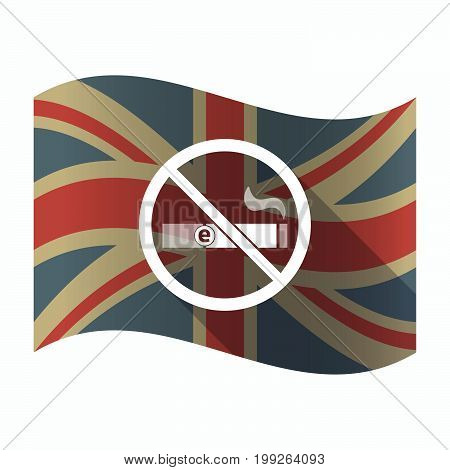 Isolated Uk Flag With  An E-cigarette  In A Not Allowed Signal