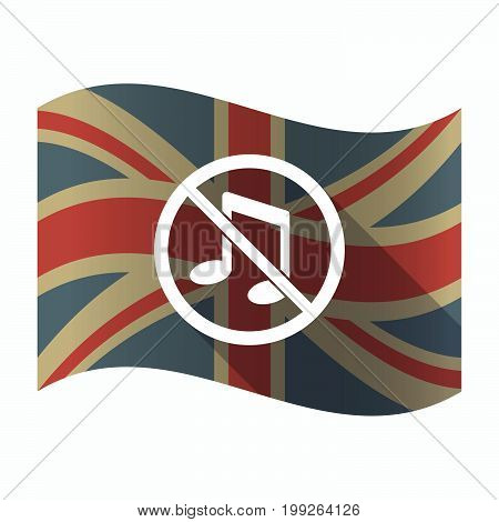 Isolated Uk Flag With  A Musical Note  In A Not Allowed Signal