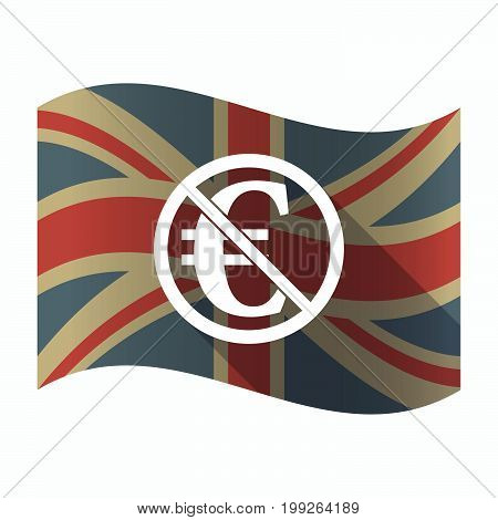 Isolated Uk Flag With  An Euro Sign  In A Not Allowed Signal