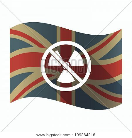 Isolated Uk Flag With  A Radioactivity Sign  In A Not Allowed Signal
