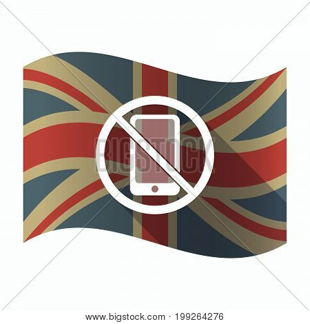 Isolated Uk Flag With  A Phone  In A Not Allowed Signal