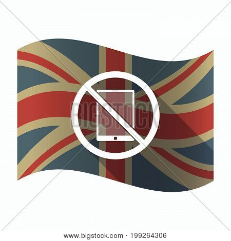 Isolated Uk Flag With  A Tablet Pc  In A Not Allowed Signal