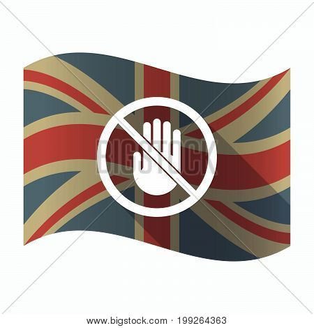Isolated Uk Flag With  A Hand  In A Not Allowed Signal
