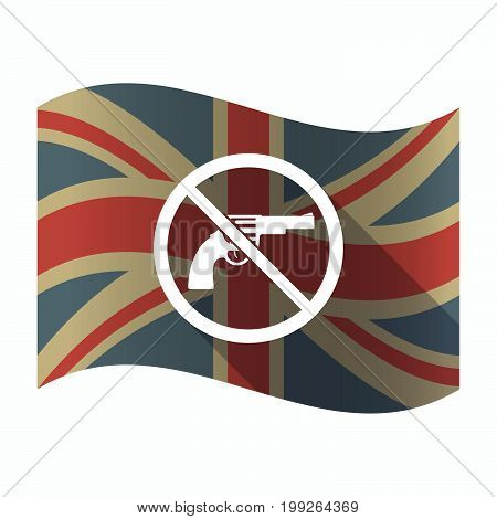 Isolated Uk Flag With  A Gun  In A Not Allowed Signal