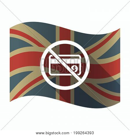 Isolated Uk Flag With  A Credit Card  In A Not Allowed Signal